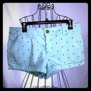 Aqua Jean Shorts with bee 🐝 motif